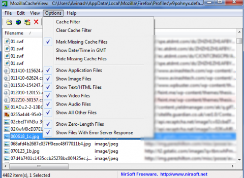 Explore/Browse cache files of Firefox browser  2
